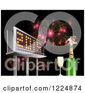Clipart Of A 3d Illuminated 2015 New Year Billboard With Champagne And Bursting Fireworks At Night Royalty Free Illustration by patrimonio