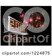 Clipart Of A 3d Illuminated 2016 New Year Billboard And Bursting Fireworks At Night Royalty Free Illustration by patrimonio