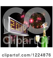 Clipart Of A 3d Illuminated 2014 New Year Billboard With Champagne And Bursting Fireworks At Night Royalty Free Illustration by patrimonio