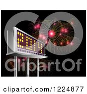 Clipart Of A 3d Illuminated 2014 New Year Billboard And Bursting Fireworks At Night Royalty Free Illustration by patrimonio