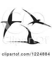 Clipart Of Three Black Flying Birds Royalty Free Vector Illustration by xunantunich