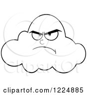 Clipart Of A Grumpy Black And White Cloud Mascot Royalty Free Vector Illustration