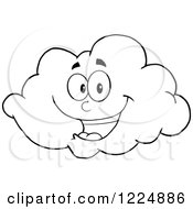 Clipart Of A Happy Black And White Cloud Mascot Royalty Free Vector Illustration by Hit Toon