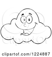 Clipart Of A Happy Smiling Black And White Cloud Mascot Royalty Free Vector Illustration by Hit Toon