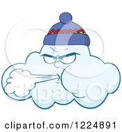 Clipart Of A Wind Storm Cloud Blowing And Wearing A Hat Royalty Free Vector Illustration by Hit Toon