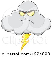 Clipart Of A Mad Lightning Storm Cloud Mascot Royalty Free Vector Illustration