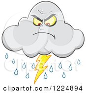 Clipart Of An Angry Lightning Storm Cloud Mascot Royalty Free Vector Illustration