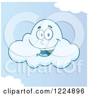 Clipart Of A Happy Cloud Mascot In A Blue Sky Royalty Free Vector Illustration by Hit Toon