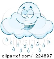Clipart Of A Smiling Rain Cloud Mascot Royalty Free Vector Illustration by Hit Toon