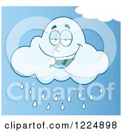Clipart Of A Smiling Rain Cloud Mascot In A Blue Sky Royalty Free Vector Illustration by Hit Toon
