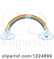 Rainbow And Two Happy Clouds