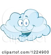Clipart Of A Happy Blue Cloud Mascot Royalty Free Vector Illustration by Hit Toon