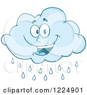 Clipart Of A Happy Rain Cloud Mascot Royalty Free Vector Illustration by Hit Toon