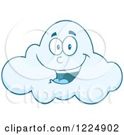 Clipart Of A Happy Smiling Blue Cloud Mascot Royalty Free Vector Illustration by Hit Toon