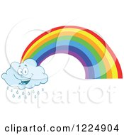 Clipart Of A Happy Rain Cloud Mascot And Rainbow Royalty Free Vector Illustration