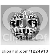 Clipart Of A 3d Black And White Drug Word Collage Sphere On Gray Royalty Free Illustration