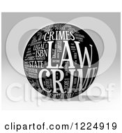 Clipart Of A 3d Grayscale Law Word Collage Sphere On Gray Royalty Free Illustration