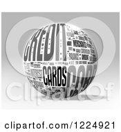 Clipart Of A 3d Grayscale Credit Card Word Collage Sphere On Gray Royalty Free Illustration by MacX