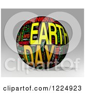 Clipart Of A 3d Earth Day Word Collage Sphere On Gray Royalty Free Illustration