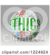 Clipart Of A 3d Ethics Word Collage Sphere On Gray Royalty Free Illustration