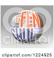 Clipart Of A 3d Feng Shui Word Collage Sphere On Gray Royalty Free Illustration