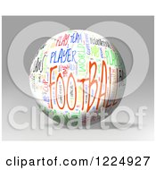 3d Football Word Collage Sphere On Gray