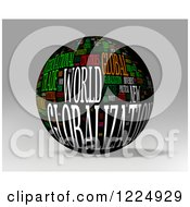 Clipart Of A 3d Globalization Word Collage Sphere On Gray Royalty Free Illustration