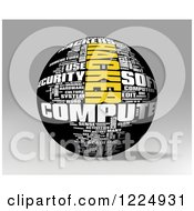 Clipart Of A 3d Computer Hacker Word Collage Sphere On Gray Royalty Free Illustration