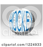 3d Hockey Word Collage Sphere On Gray