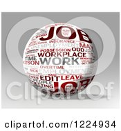 3d Job Word Collage Sphere On Gray
