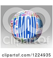 Clipart Of A 3d Email Word Collage Sphere On Gray Royalty Free Illustration