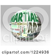 Clipart Of A 3d Martial Arts Word Collage Sphere On Gray Royalty Free Illustration