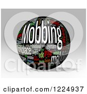 Clipart Of A 3d Mobbing Word Collage Sphere On Gray Royalty Free Illustration