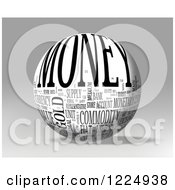 Clipart Of A 3d Money Word Collage Sphere On Gray Royalty Free Illustration