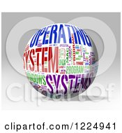 Clipart Of A 3d Operating System Word Collage Sphere On Gray Royalty Free Illustration