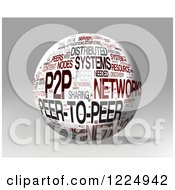 Clipart Of A 3d P2p Word Collage Sphere On Gray Royalty Free Illustration