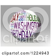 Clipart Of A 3d Presidents Day Word Collage Sphere On Gray Royalty Free Illustration