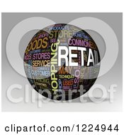 3d Retail Word Collage Sphere On Gray