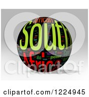 3d South Africa Word Collage Sphere On Gray
