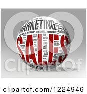 Clipart Of A 3d Sales Word Collage Sphere On Gray Royalty Free Illustration