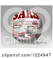 Clipart Of A 3d SARS Word Collage Sphere On Gray Royalty Free Illustration