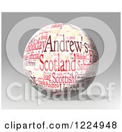 Clipart Of A 3d Scotland Word Collage Sphere On Gray Royalty Free Illustration