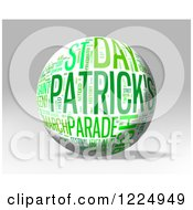Clipart Of A 3d St Patricks Day Word Collage Sphere On Gray Royalty Free Illustration