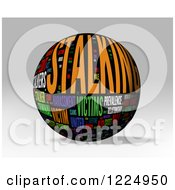 3d Stalking Word Collage Sphere On Gray