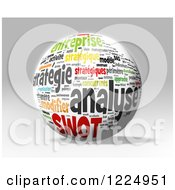 Clipart Of A 3d SWOT Word Collage Sphere On Gray Royalty Free Illustration