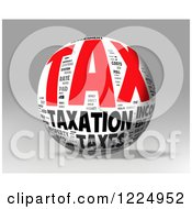 Clipart Of A 3d Tax Word Collage Sphere On Gray Royalty Free Illustration