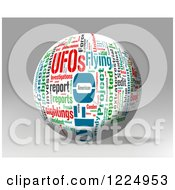 3d Ufo Word Collage Sphere On Gray