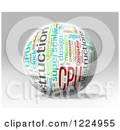 Clipart Of A 3d CPU Word Collage Sphere On Gray Royalty Free Illustration