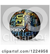 Clipart Of A 3d Diet Word Collage Sphere On Gray Royalty Free Illustration