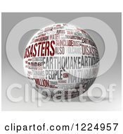 Clipart Of A 3d Disaster Word Collage Sphere On Gray Royalty Free Illustration